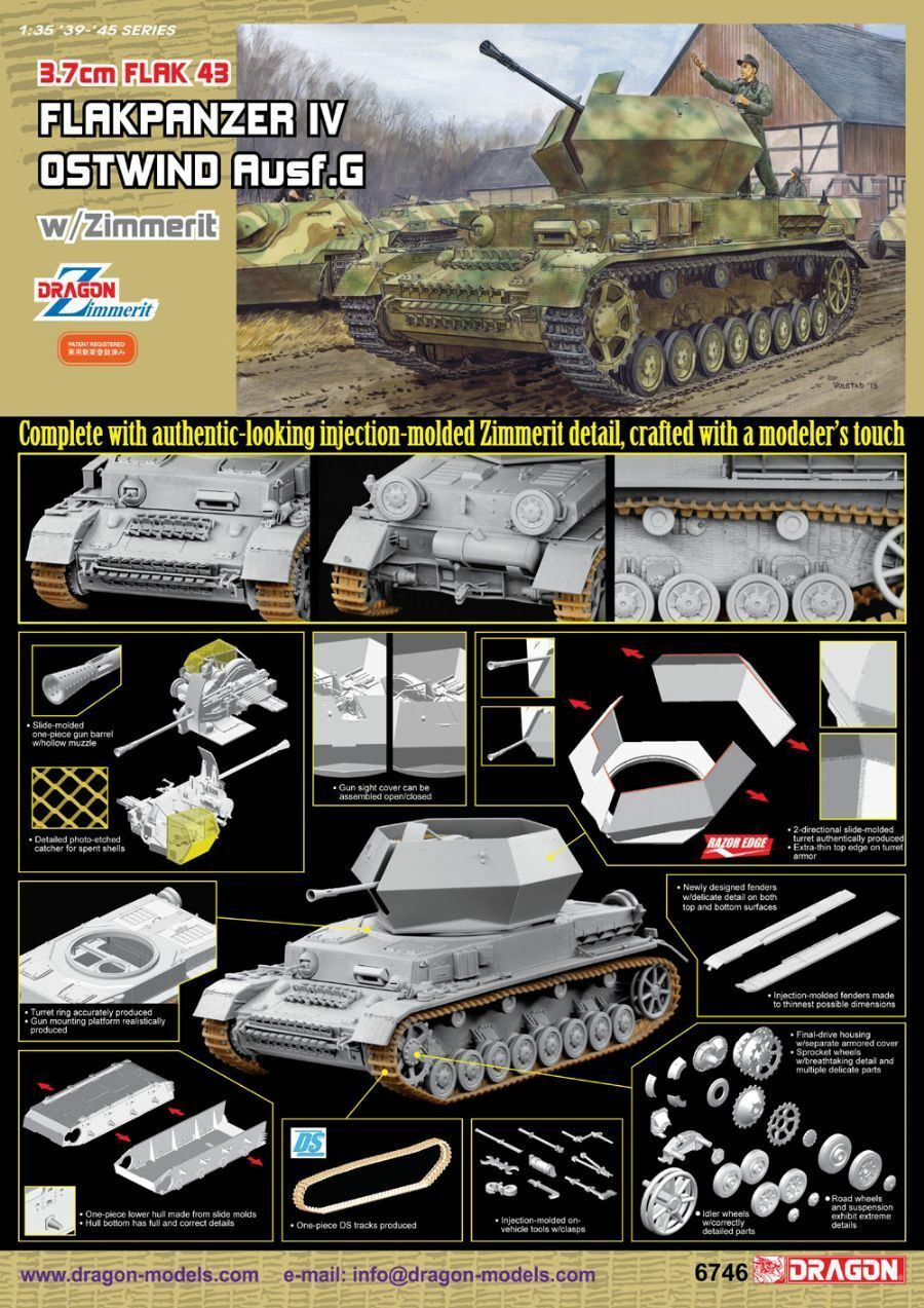 Dragon 1 35 Flakpanzer IV Ostwind w  Zimmerit Kit No. 6746