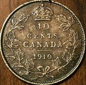 1910-CANADA-SILVER-10-CENTS-DIME-COIN-Excellent-example