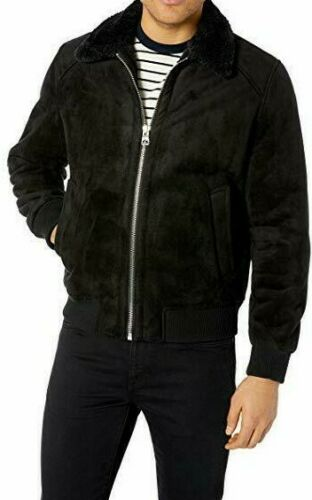 NWT GUESS MENS WINTER COAT BOMBER JACKET FAUX SUEDE SHEARLING SZ SMALL BLACK