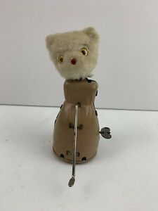 RARE-Vintage-Wind-Up-Bear-White-Fur-Tin-Toy-Mechanical-Japan-1950s