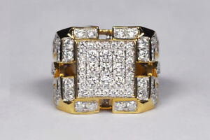 3-Ct-Round-Sim-Diamond-Heavy-Mens-Cluster-Engagement-Band-Ring-14K-Yellow-Gold