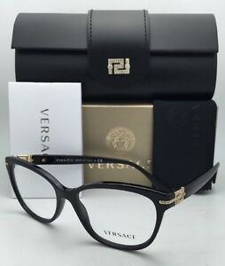 23958c9c2c69 New VERSACE Eyeglasses VE 3205-B GB1 54-16 Black   Gold Frame with ...
