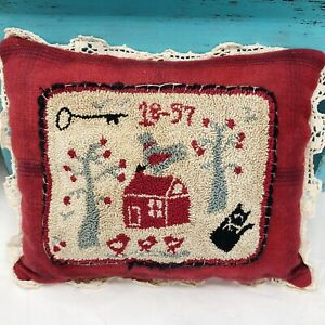 Vtg-Primitive-Handmade-Signed-Needlepoint-Tapestry-Wool-PILLOW-House-Trees-Cat