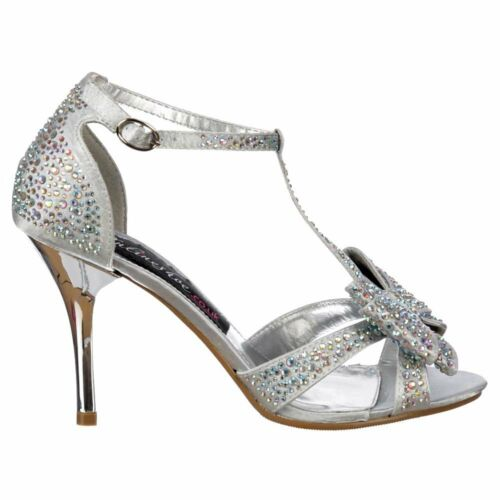 Ladies Crystal T-Bar Low Mid Heel Diamante Jewelled Bow Silver Diamante Shoe