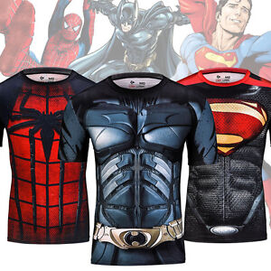 Stylish Mens 3D Quick Dry Compression Gym Tees Superhero Costume Sport T-shirts