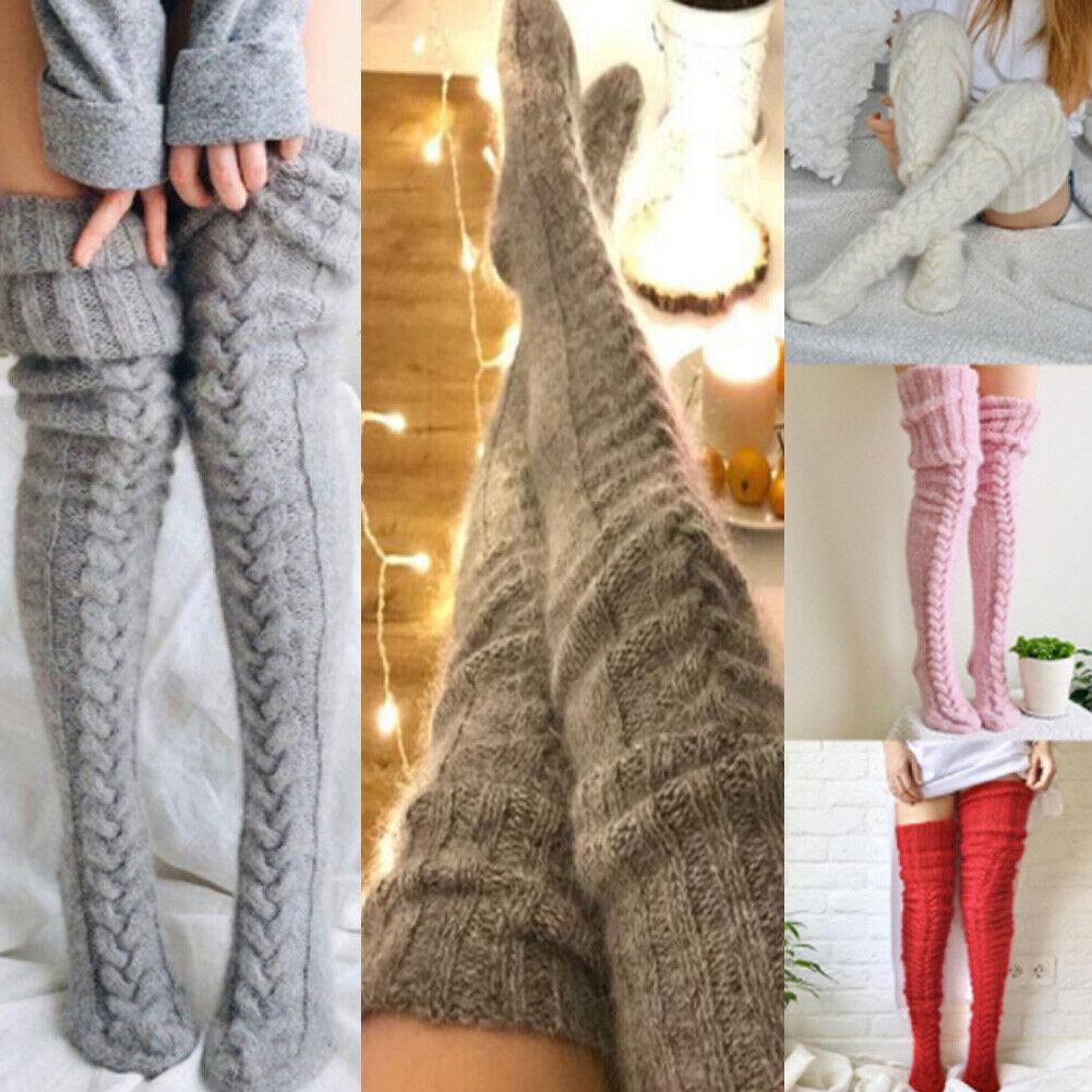 Dicke Damen Overknee Stockings Lang Socken Stricke Strümpfe Leggings Kniestrumpf
