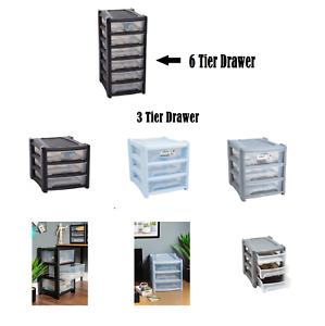 Plastica-CASSETTO-poco-profonde-Tower-STAND-Office-Home-da-cucina-contenitore-di-stoccaggio-Holder
