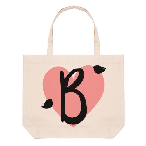 Letter B Heart Alphabet Large Beach Tote Bag Valentines Day Shoulder