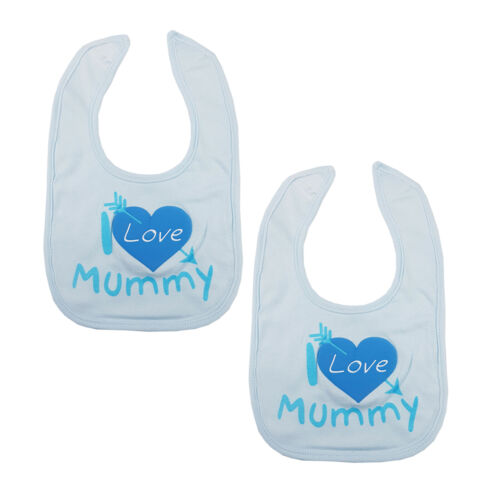 Baby Boys Girls I Love Mummy Daddy Bibs Hook /& Loop Cotton Bib 1 2 or 3 Bibs