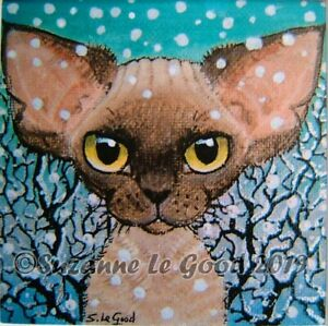 Devon-Rex-Cat-art-mounted-signed-print-from-original-painting-by-Suzanne-Le-Good