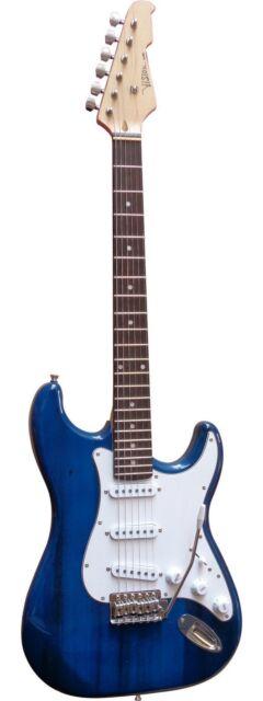 Guitare Electrique Strato Bleue Avec Vibrato Et Câble