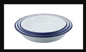White bluee Enamel Falcon Steak Pie Pudding Baking Round Bake Oven Dish Tin CAMP