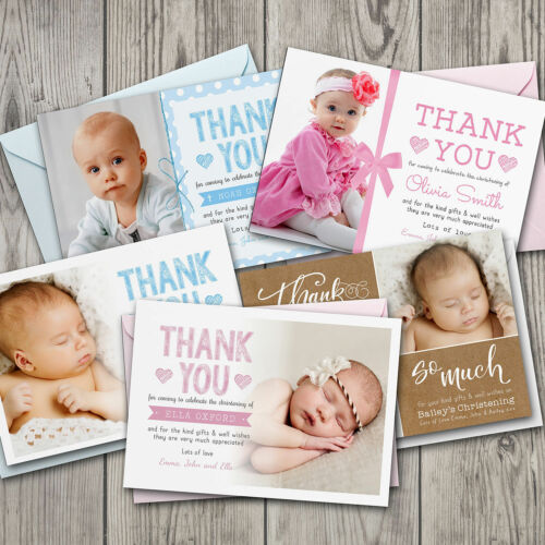 Personalised Christening Photo Thank You Cards Boy or Girl #052