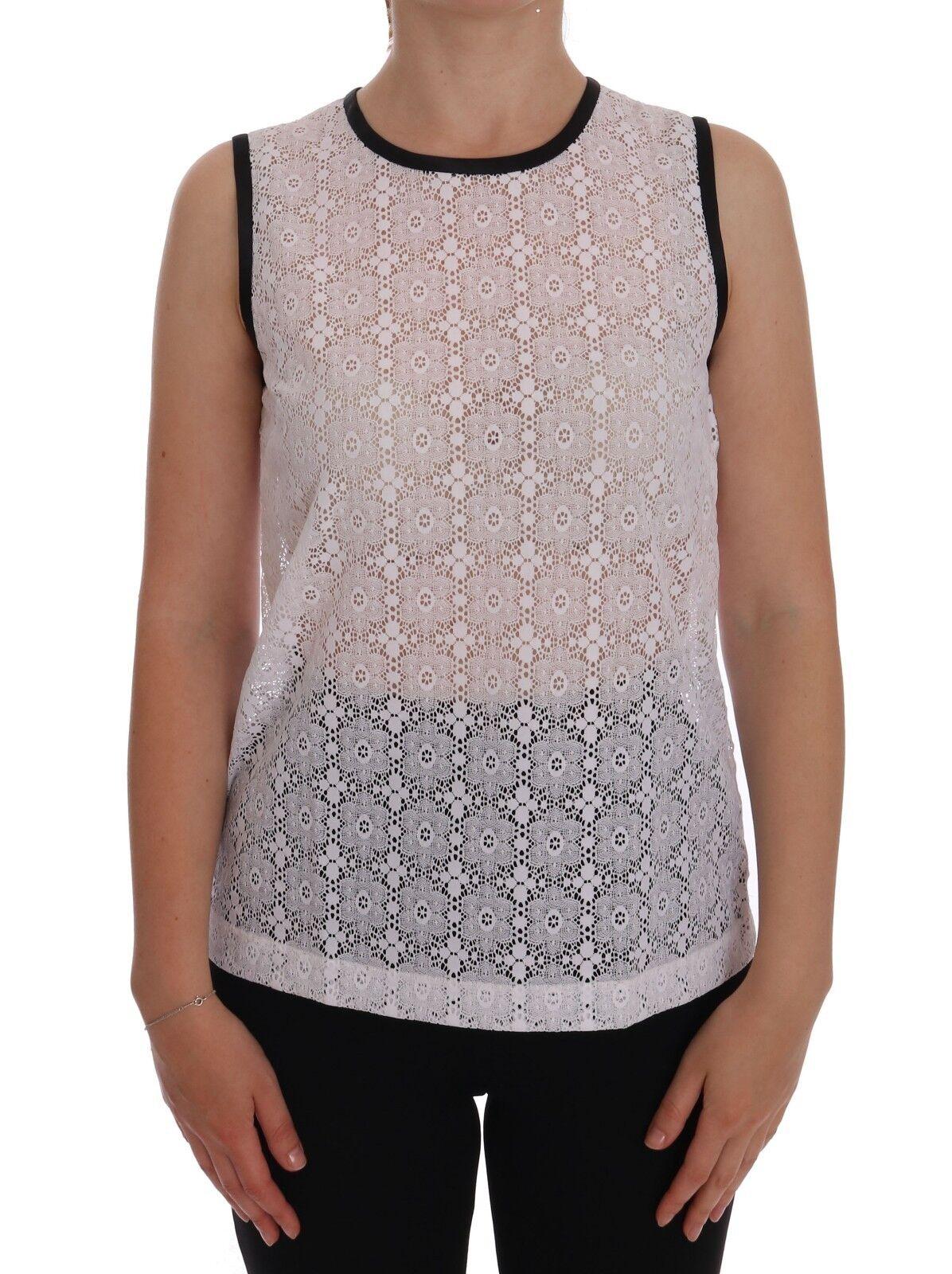 NEW DOLCE & GABBANA T-shirt Weiß Lace Floral Nylon Tank Top s. IT48 / XXL