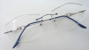 Design-randlose-Damen-Brille-leicht-Strass-silber-Fassung-ohne-Rahmen-edel-Gr-M