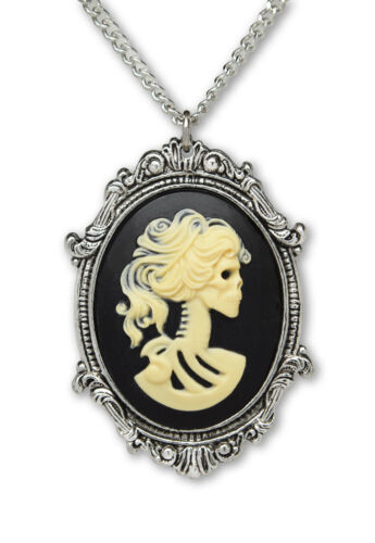 Lolita Skull Cameo in Silver Frame Pewter Pendant Necklace NK-629IB