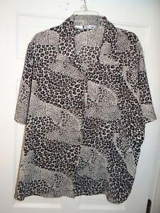 K-C-Studio-Womens-Blouse-Top-Animal-Print-Size-22W-Short-Sleeve-Button-Down