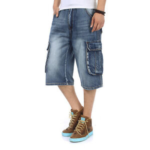 Plus-Size-Men-039-s-Shorts-Jeans-Cargo-Denim-Shorts-Casual-Baggy-Style-Waist-W30-46