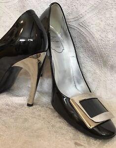 Roger-Vivier-Shoe-Black-Patent-Pump-Silver-Toe-Buckle-Design-Size-37-1-2