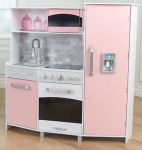 image is loading kidkraft large modern pastel pink wooden play kitchen - Play Kitchen