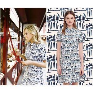cc47c1410c Tory Burch Dress 6 Figurine Print Strectch Poplin ShirtDress S M | eBay