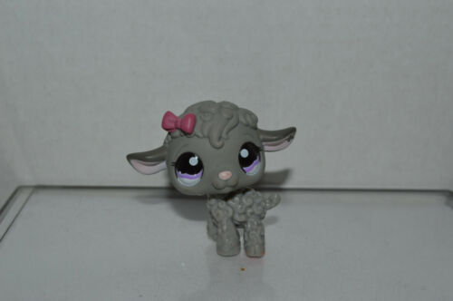 Littlest Pet Shop~#1218~Lamb Sheep~Gray~Pink Bow~Flower On Ear~Purple DOT Eyes