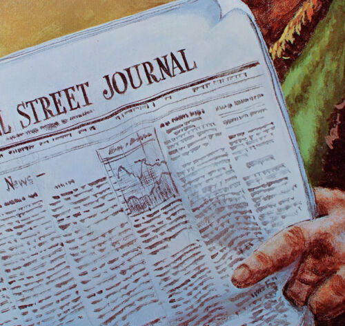Vintage CLOWN Reading WALL STREET JOURNAL Poster EMMETT KELLY Weary Willie MINT