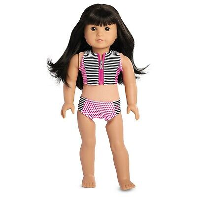"Authentic 18/"" AMERICAN GIRL DOLL STRIPES AND DOTS SWIMSUIT OUTFIT CLOTHES NEW"