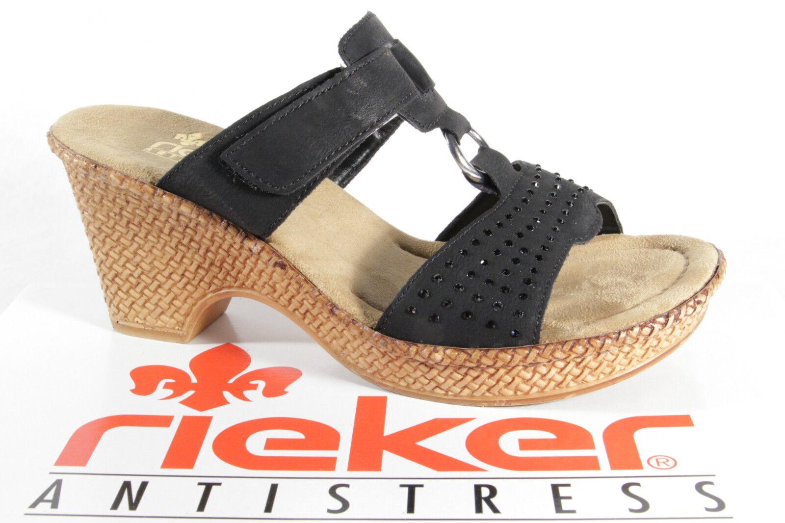 Rieker Zapato Abierto Negro, Suave Suela Interior, Cierre Adhesivo 66082 Nuevo