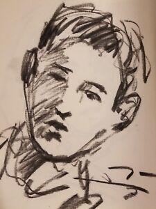 JOSE-TRUJILLO-Original-Charcoal-Paper-Sketch-Drawing-11X17-SIGNED-Realist-COA