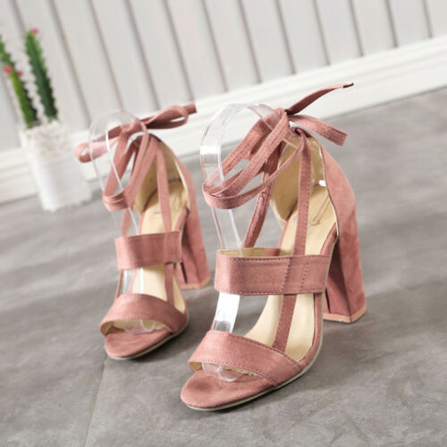 Womens Toe Shoes Ankle Strappy Sandals Casual Lace Up Shoes New High Block Heels