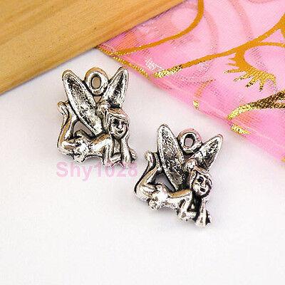 6Pcs Tibetan Silver Fairy Charms Pendants 12x17.5mm LA314