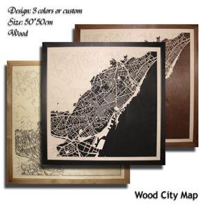 Wood-City-Map-BARCELONA-Decor-Picture-Town-Village-Laser-Cut-Wall-Art-50x50