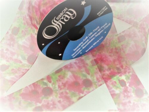 3 yds 2.7m ribbon 38mm CLEARANCE  No reel Offray WATERCOLOUR sheer organza