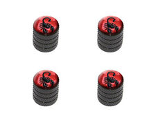 Scorpion on Red Bug Insect Venom Poisonous - Tire Rim Valve Stem Caps - Black