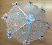 32 White Lace Baby Shower Umbrella Pink & Blue