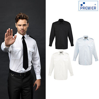 Mens LONG Sleeve Pilot Security Shirt Business Work Smart Formal Uniform PR210