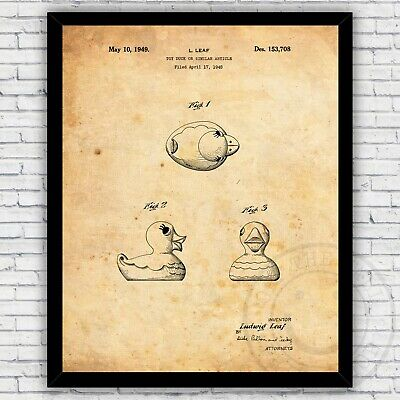 Size and Frame Options Rubber Duck Toy Bathroom Tub Patent Wall Art Print Decor