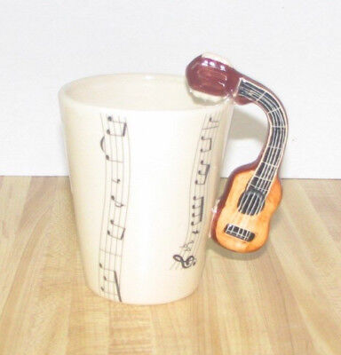 Blue Witch 3D Coffee Mug Piano Instrument Handle Musical Notes Beige Tea Cup New