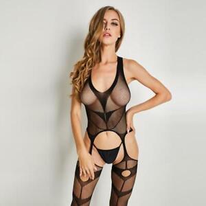 ef7feeb28 Image is loading Sexy-Lingerie-Body-Stocking-Suspender-Garter-Fishnet- Bodysuit-