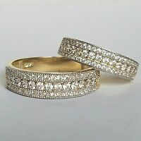 2 Piece His Hers 14k Yellow Gold Matching Wedding Band Ring Set S 6.5 9