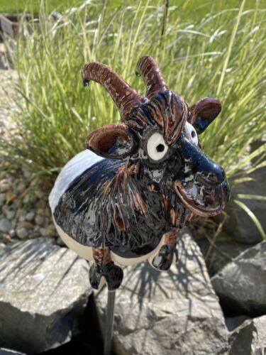 Keramik Ziege Bock Gartenkugel Ziegenbock Handarbeit Gartenstecker Beetstecker