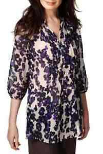 M-amp-S-Per-Una-Open-Neck-Collar-Blurred-Floral-Blouse-SZ-16-Was-29-50-BNWT