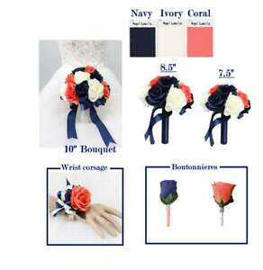 Coral-Navy-and-Ivory-Keepsake-Artificial-Flowers-Build-Your-Wedding-Package