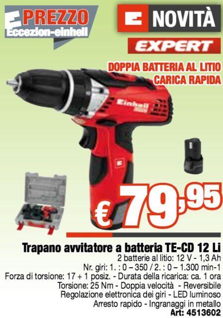 TRAPANO AVVITATORE n 2 BATTERIE LITIO 12V VALIGETTA TE-CD 12 Li EINHELL batteria
