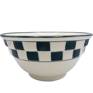 Hartstone-Dark-Green-Check-Mixing-Bowl-2-Rib-Farmhouse-Checkerboard-9-5-034-Nesting