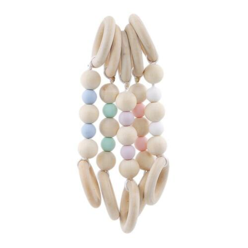 Natural Wood Rings Silicone Beads Teether For Boys Girls C