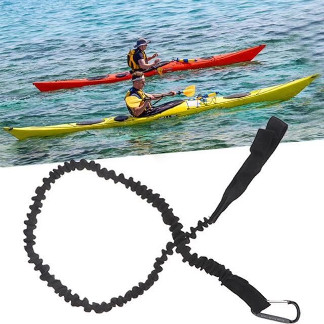 kayak canoe paddle leash fishing rod holder accessory leash with carabinerBlacLD