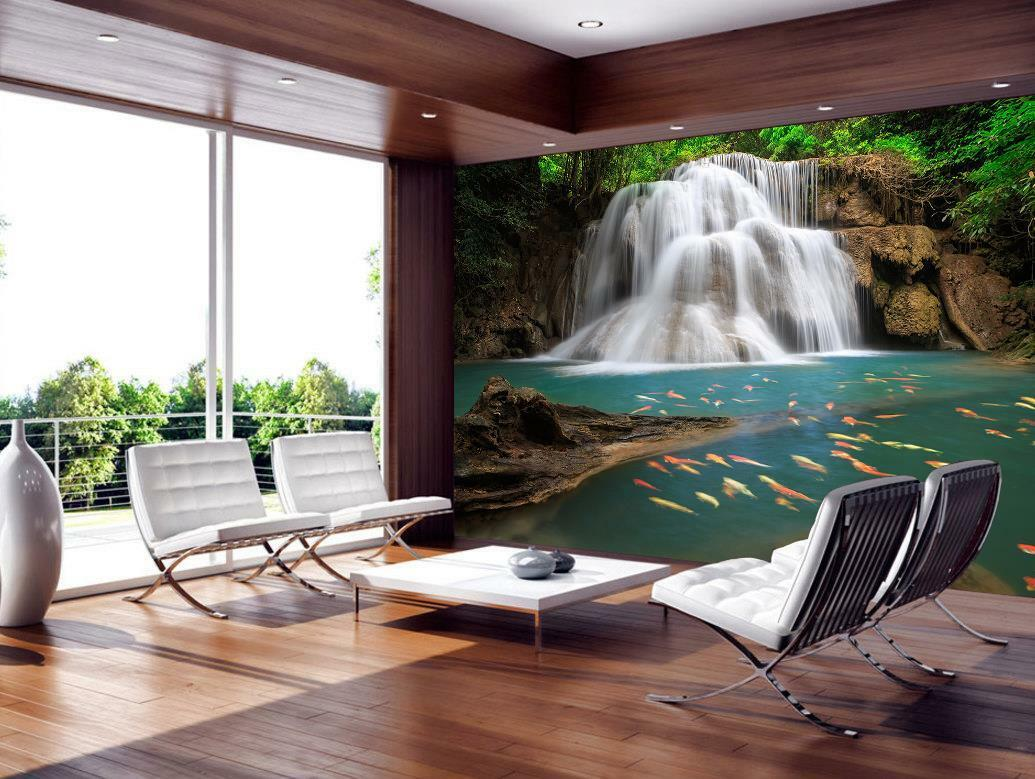 Waterfall Forest Nature Wallpaper Woven Self-Adhesive Wall Mural Art Decal M181