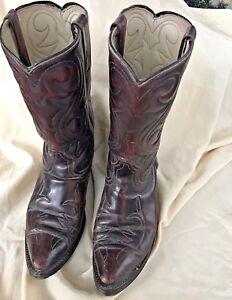 Western bordato 8d Boots pelle Cowboy Acme Punta a bordeaux punta in Rq6dz1